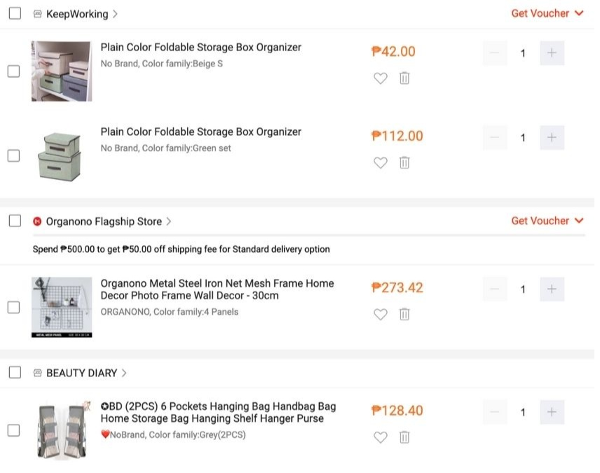 items in online shopping cart