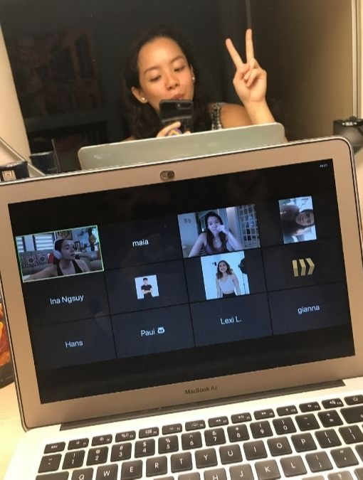 Career shift - Pinay on a video call with teammates