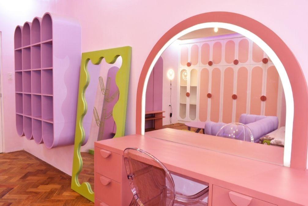 space makeover - neotenic design: shoe storage, mirror, and vanity area
