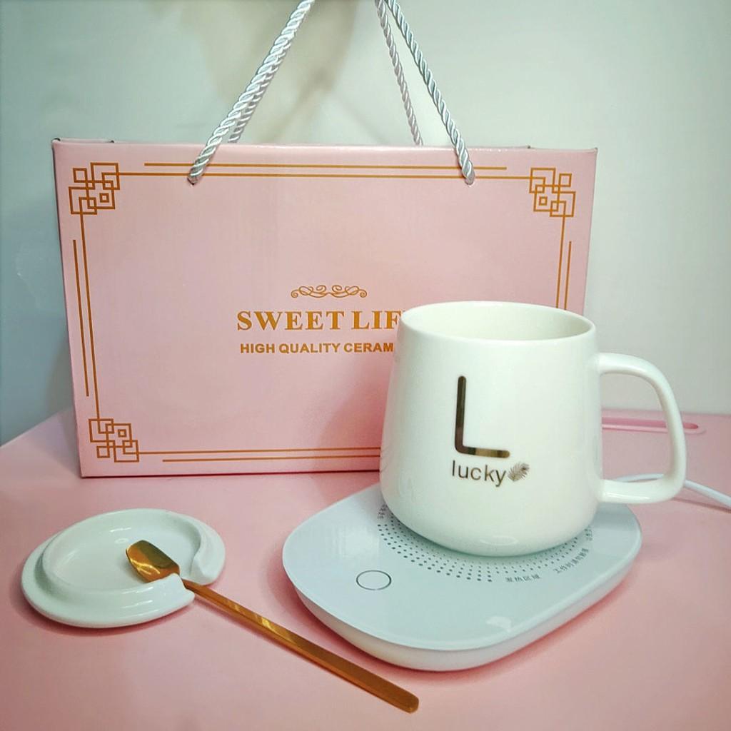 Pink ceramic mug, heating cup