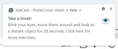 EyeCare Google Chrome extension - notification
