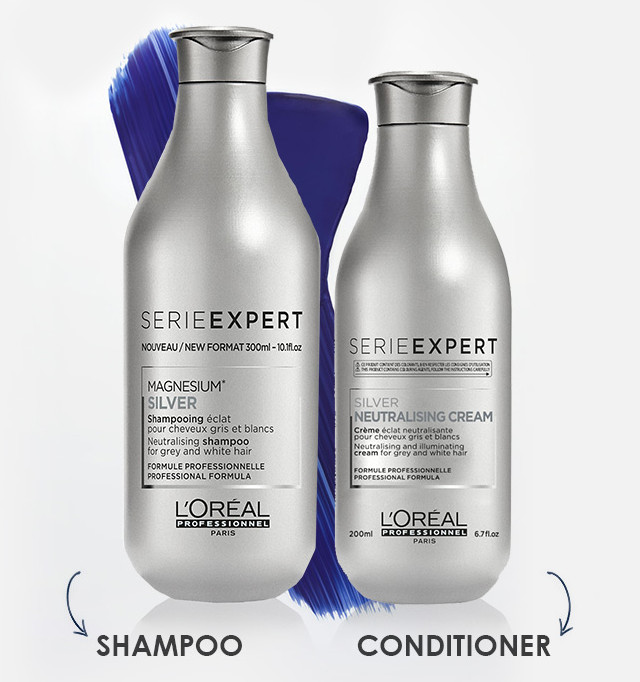 L'Oreal Serie Expert Silver Anti-Brass Purple Toning Shampoo and Conditioner