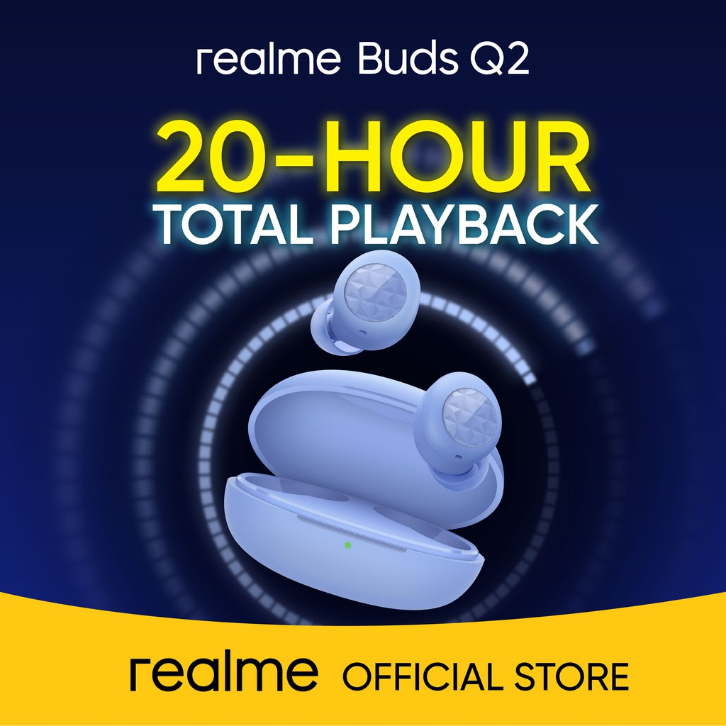 realme Buds Q2 in blue, features