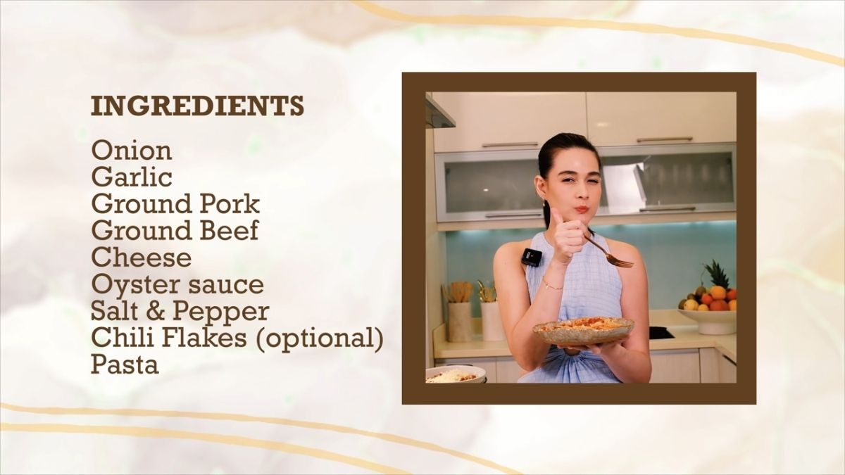 Bea Alonzo cooks Pinoy spaghetti - list of ingredients