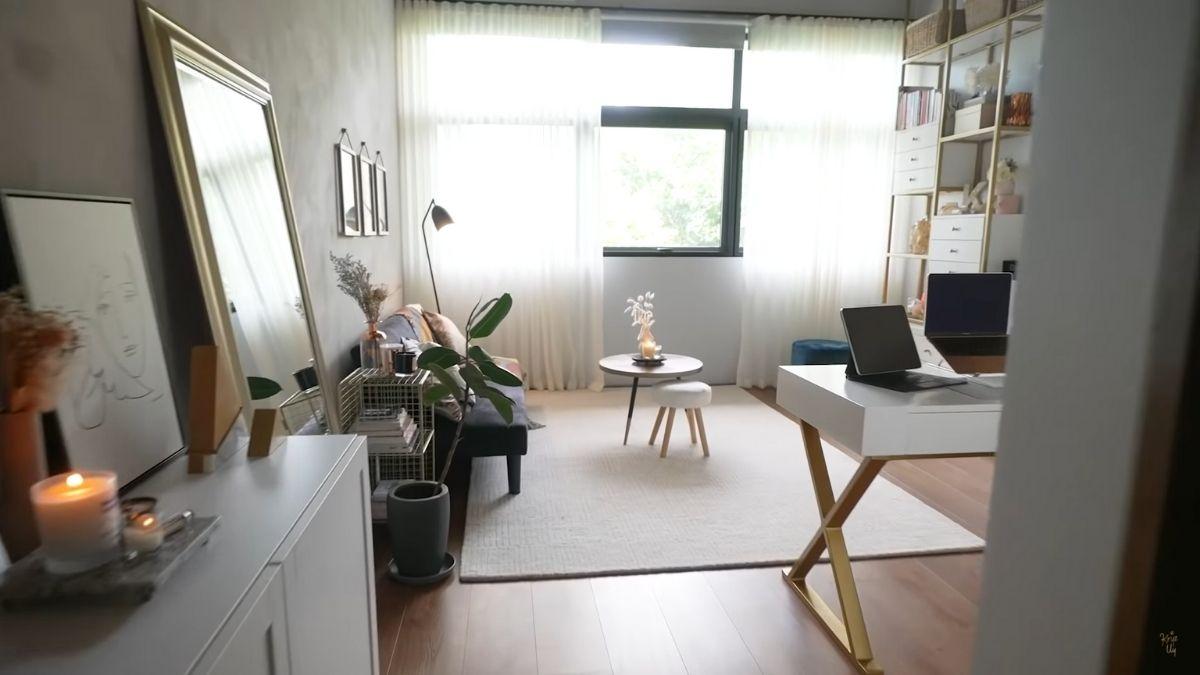 Kryz Uy home office makeover 2021: adding sheer curtains for soft light