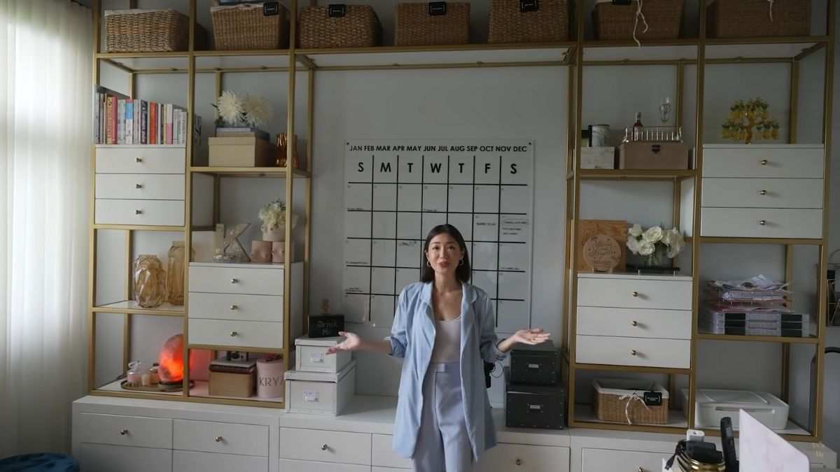 Kryz Uy home office makeover 2021: shelves