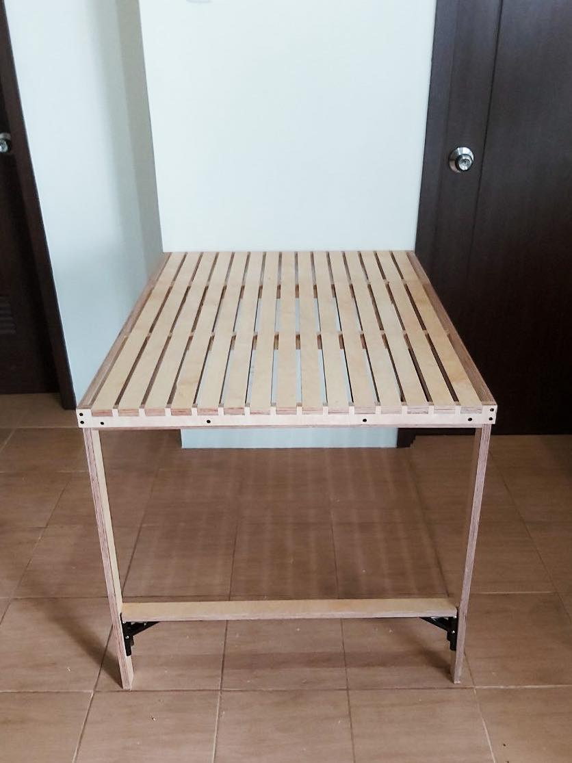 space-saving table unfolded