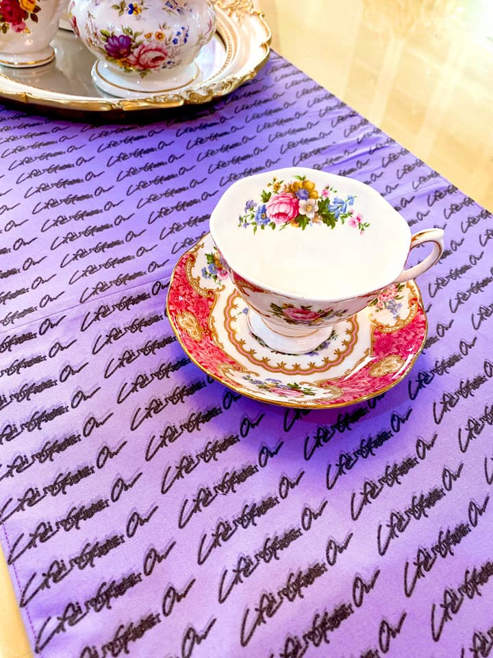 BTS and Kwanjuyo collab - cup, saucer, and table runner