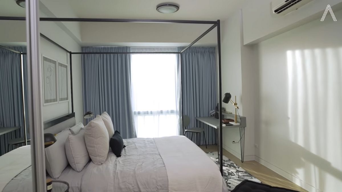 Rhian Ramos bedroom makeover: sheer curtains