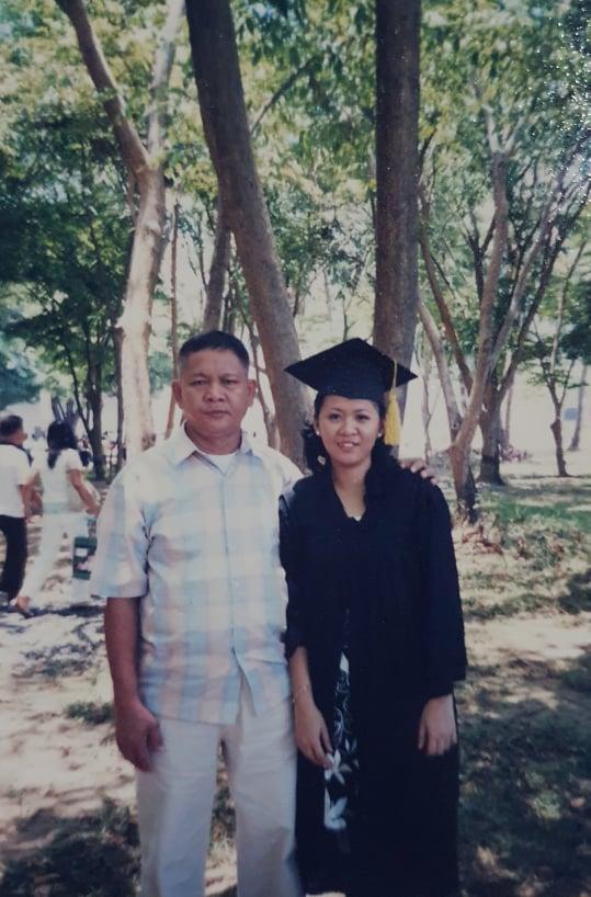 Pinay with dad, graduation