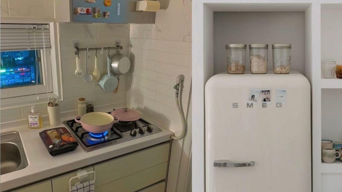 Ashley Garcia 2021 condo makeover: retro style kitchen