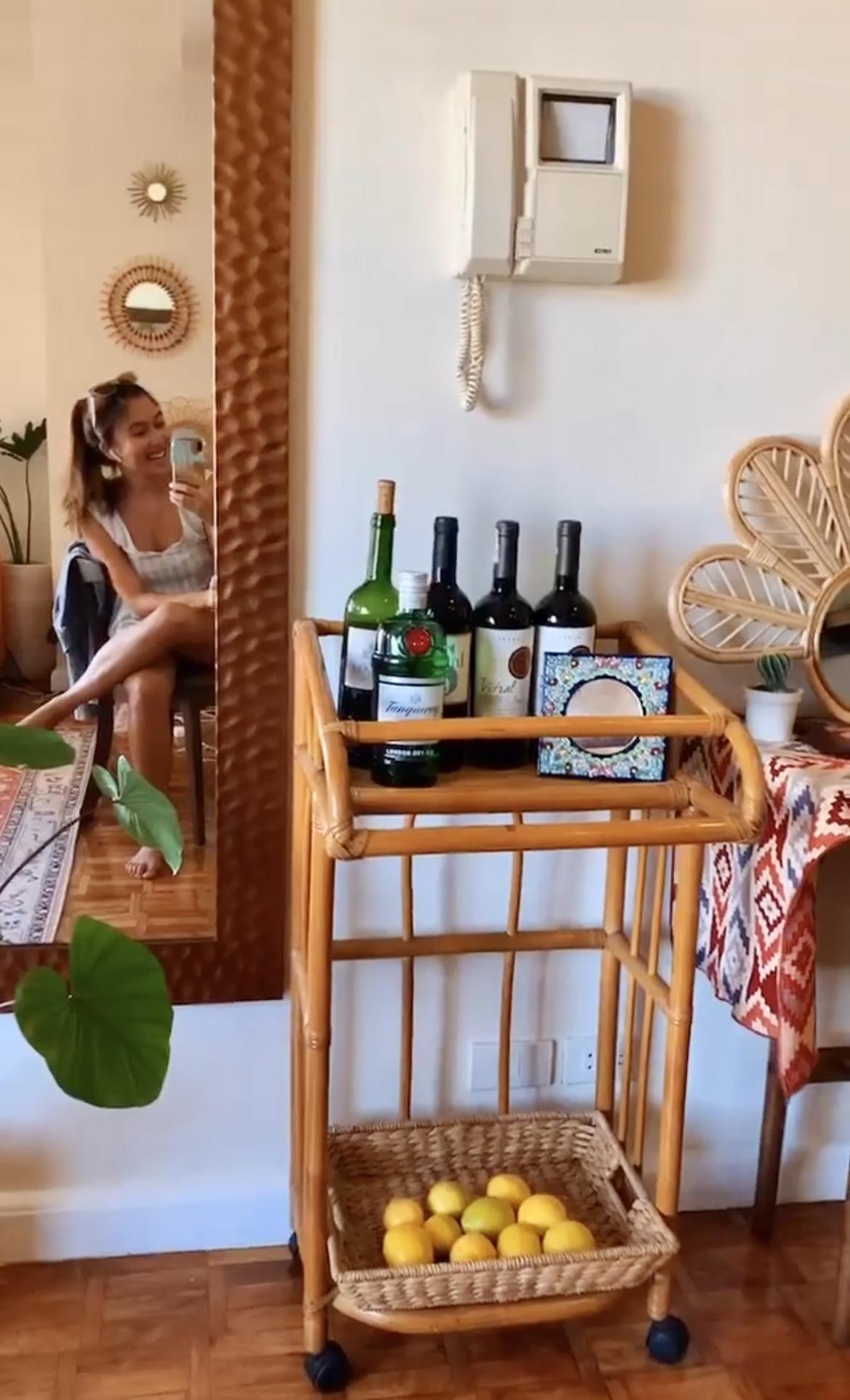 boho-inspired home makeover: bar cart