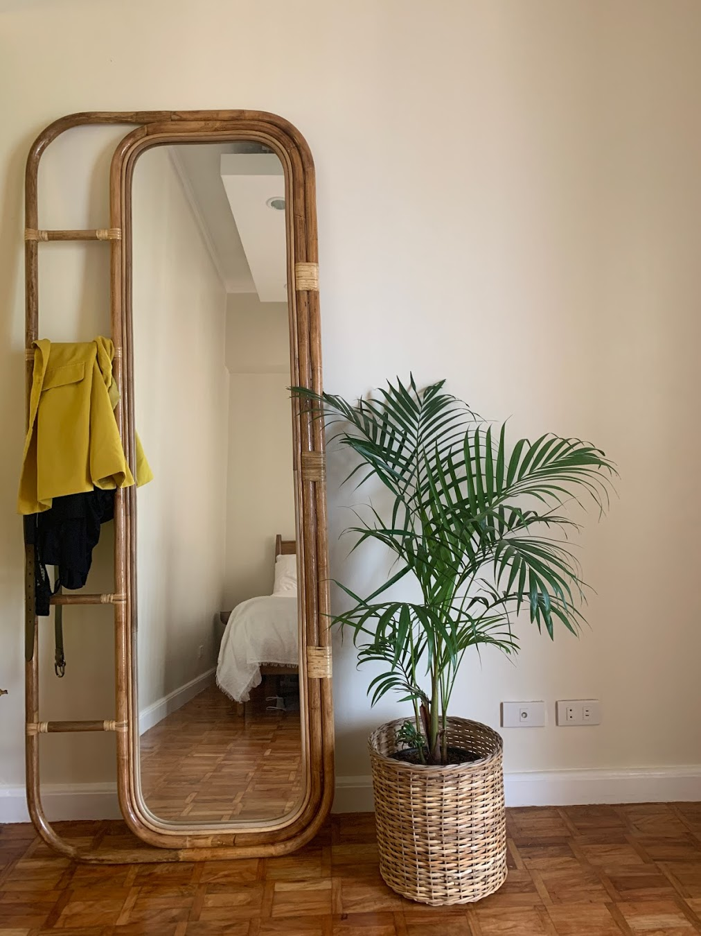 boho-inspired home makeover: rattan mirror and plant