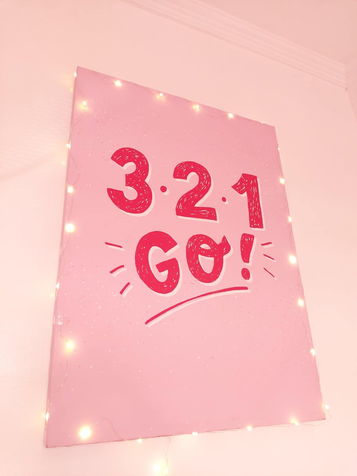 all-pink bedroom - wall art