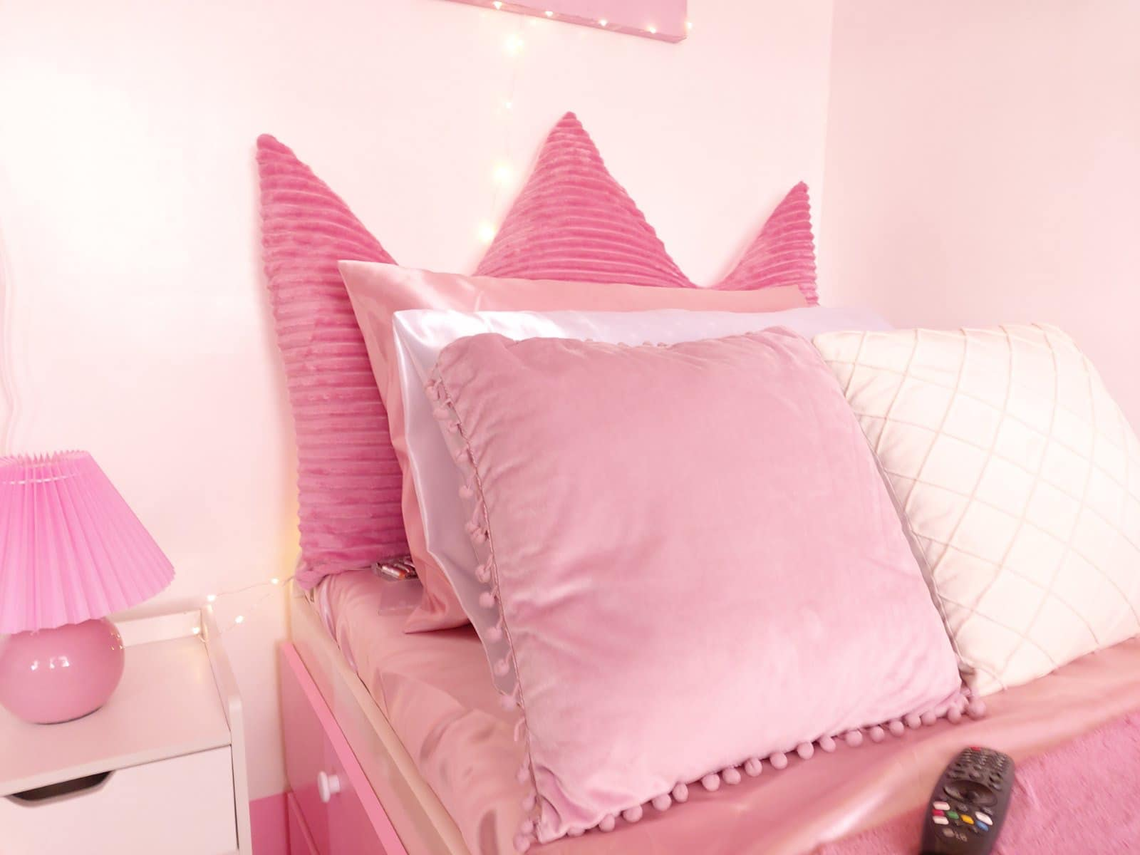all-pink bedroom - bed