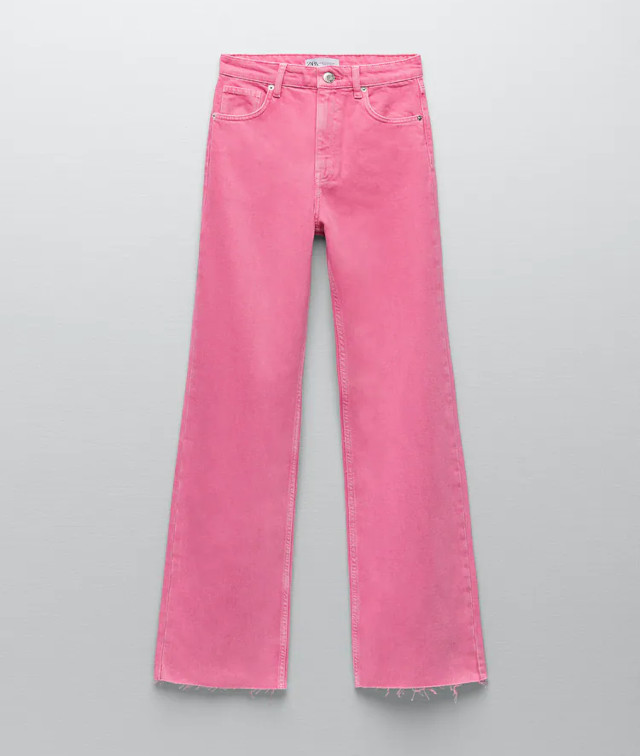 Zara Pink Wide-Leg Colored Jeans