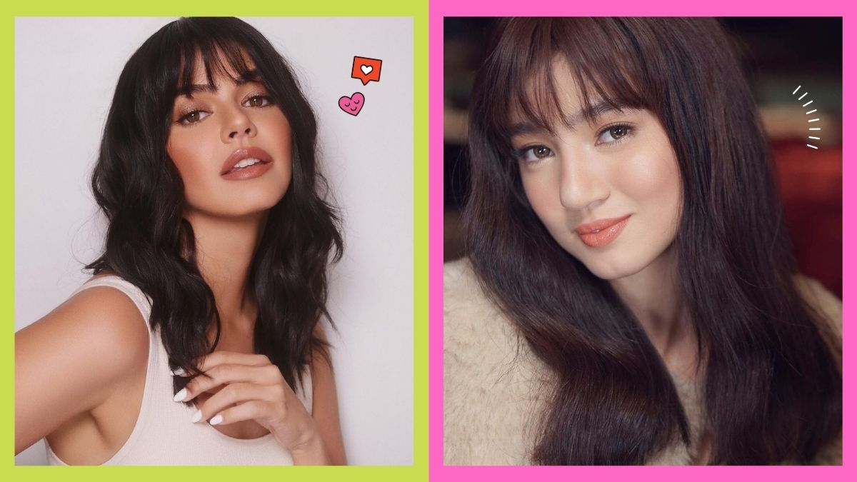 Celebrities with long hair and wispy bangs