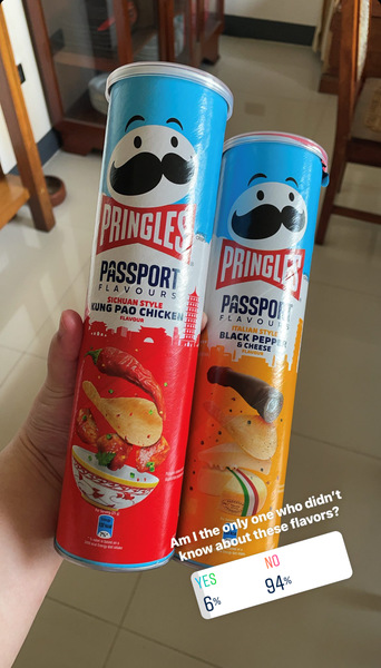 Pringles' Passport flavors: Black Pepper & Cheese, Kung Pao Chicken