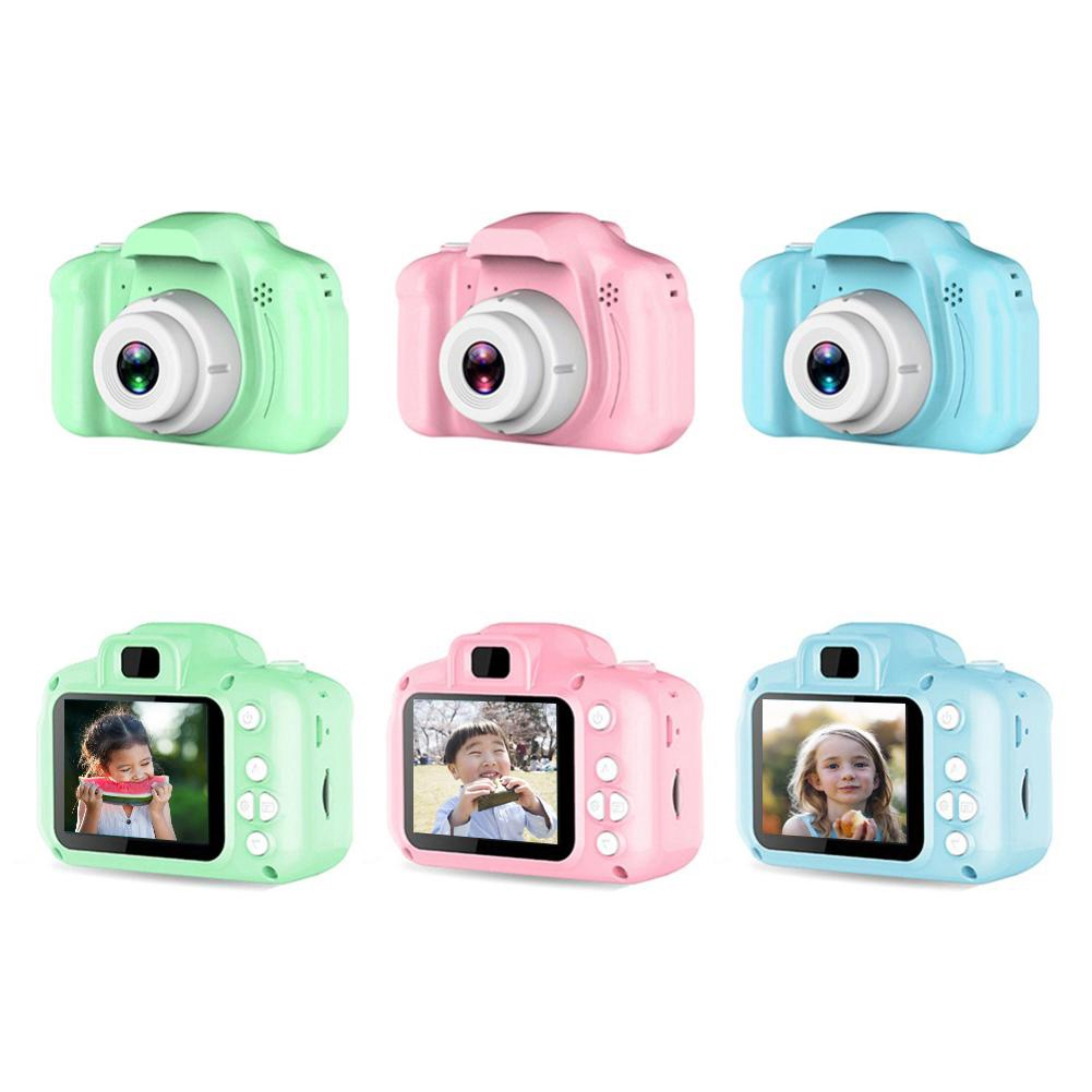 kids camera in pastel colors: green, pink, and blue