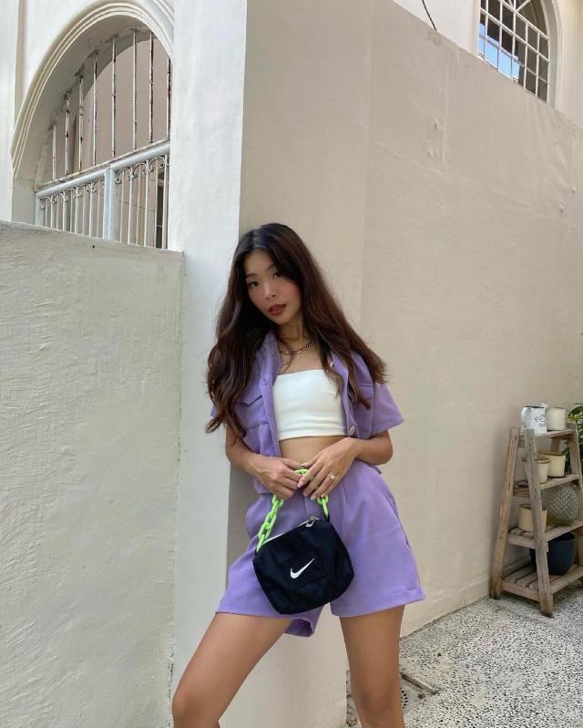 Date outfits: colorful shorts set
