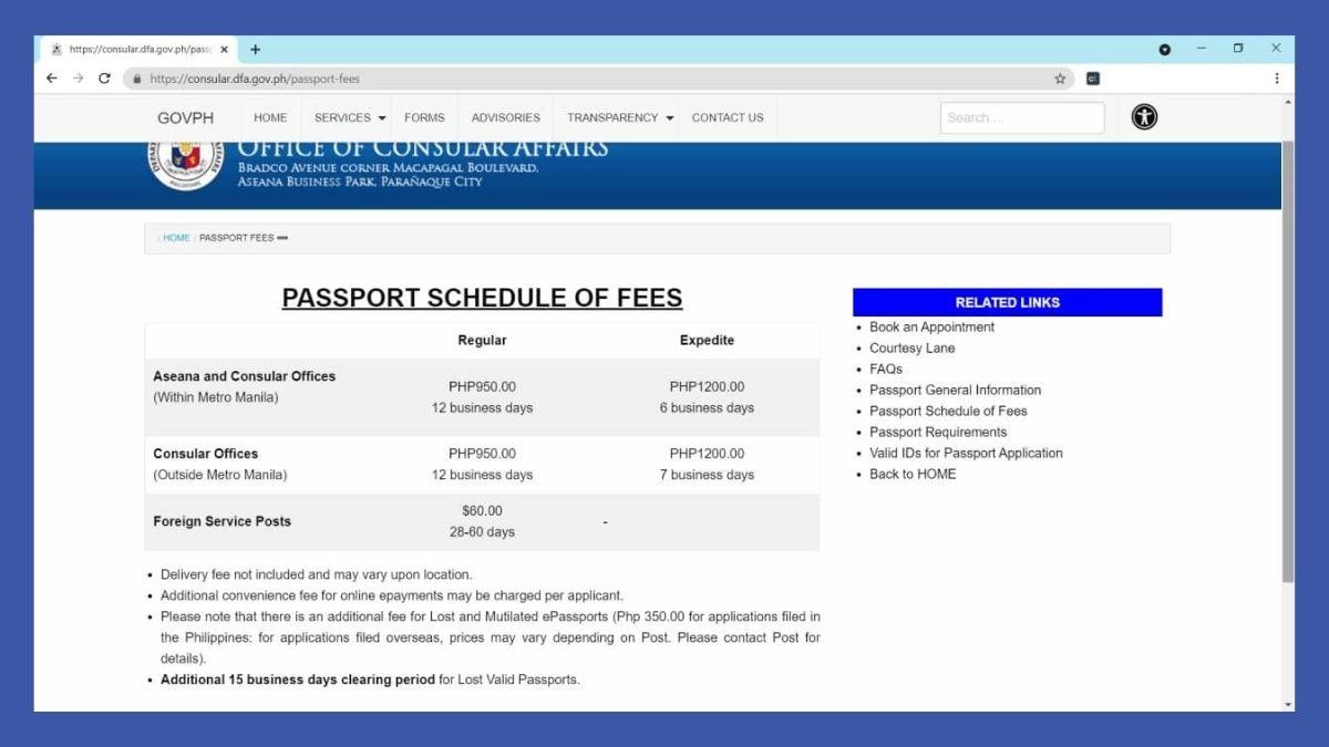 passport online renewal - fees