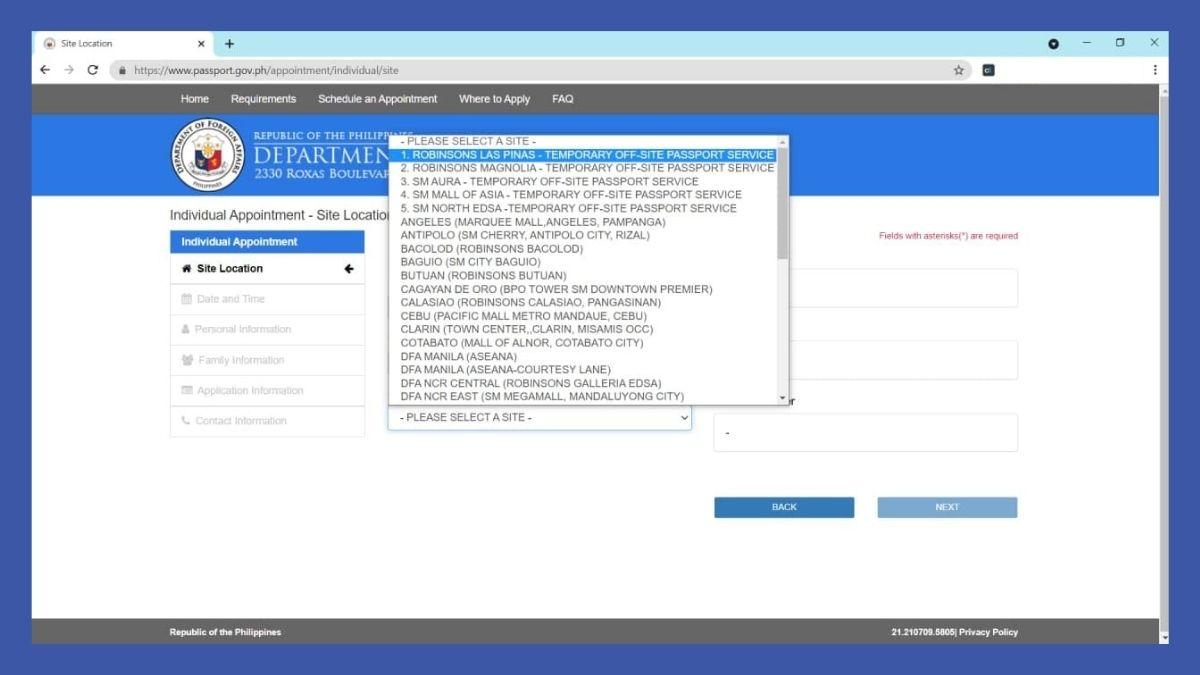 passport online renewal - site location