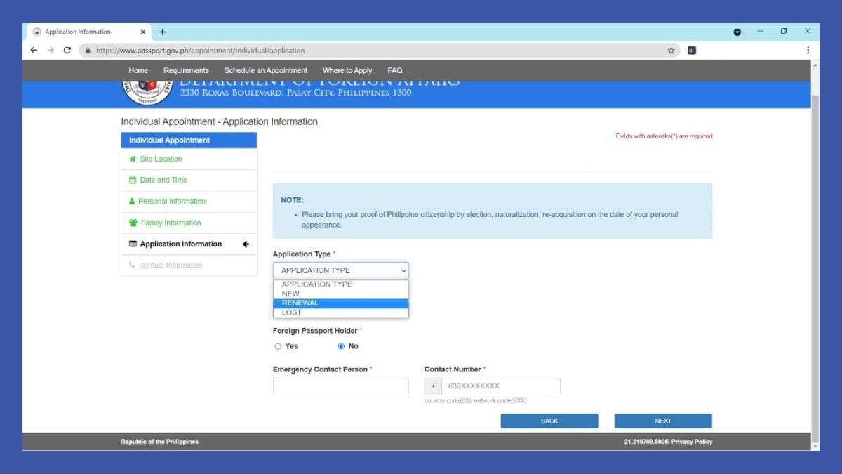 passport online renewal - type of application