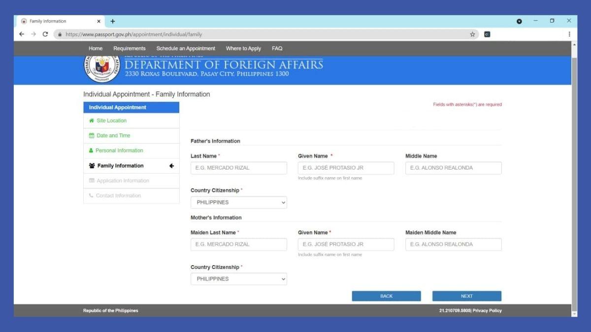 passport online renewal - family information