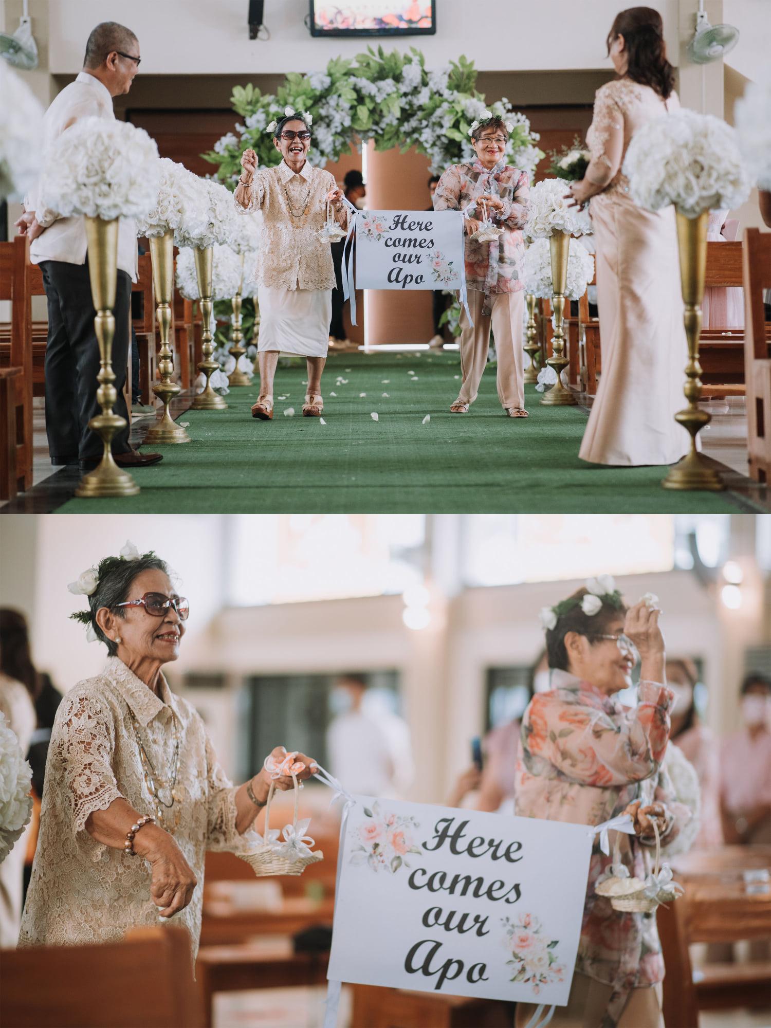 pinoy couple wedding - lolas as flower girls