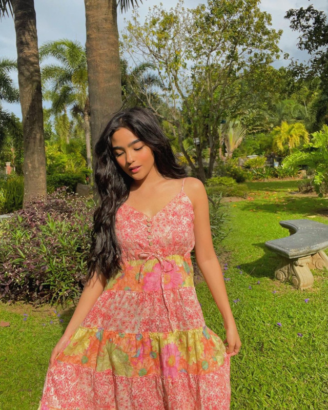Andrea Brillantes wearing a pink floral dress