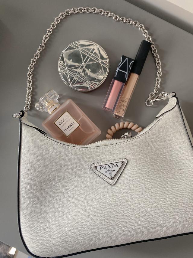 white Prada bag