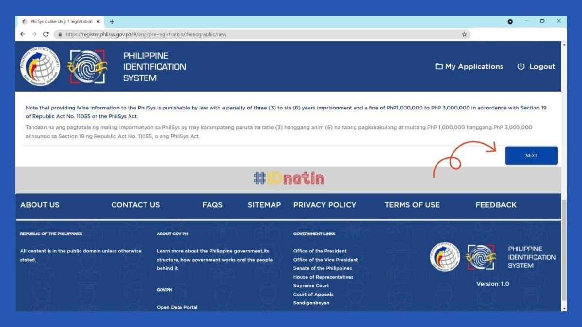 National ID registration - online application form