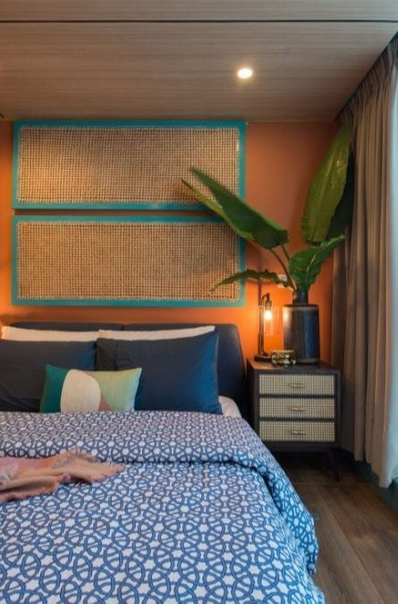 bedroom wall design ideas; plants and bedside table