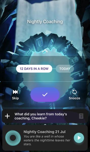 Fabulous app: nightly coaching