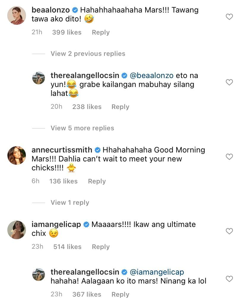 Bea Alonzo, Anne Curtis and Angelica Panganiban reacting to Angel Locsin's IG post