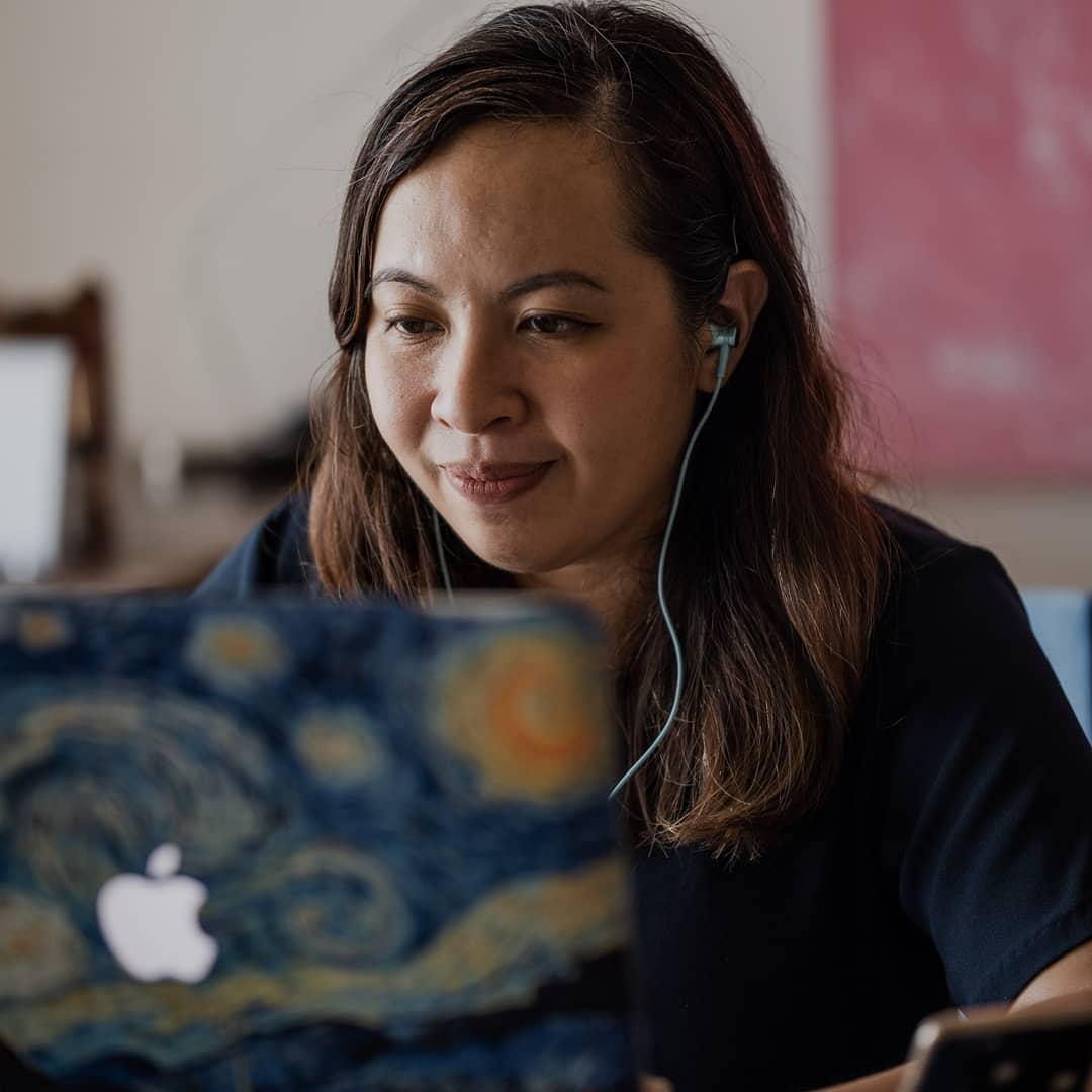 pinay using laptop, workmanship coaching - career path