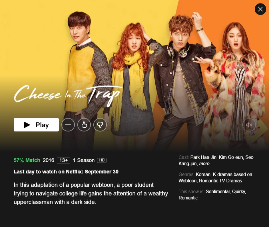 Cheese In The Trap will be removed from Netflix on September 30,2021