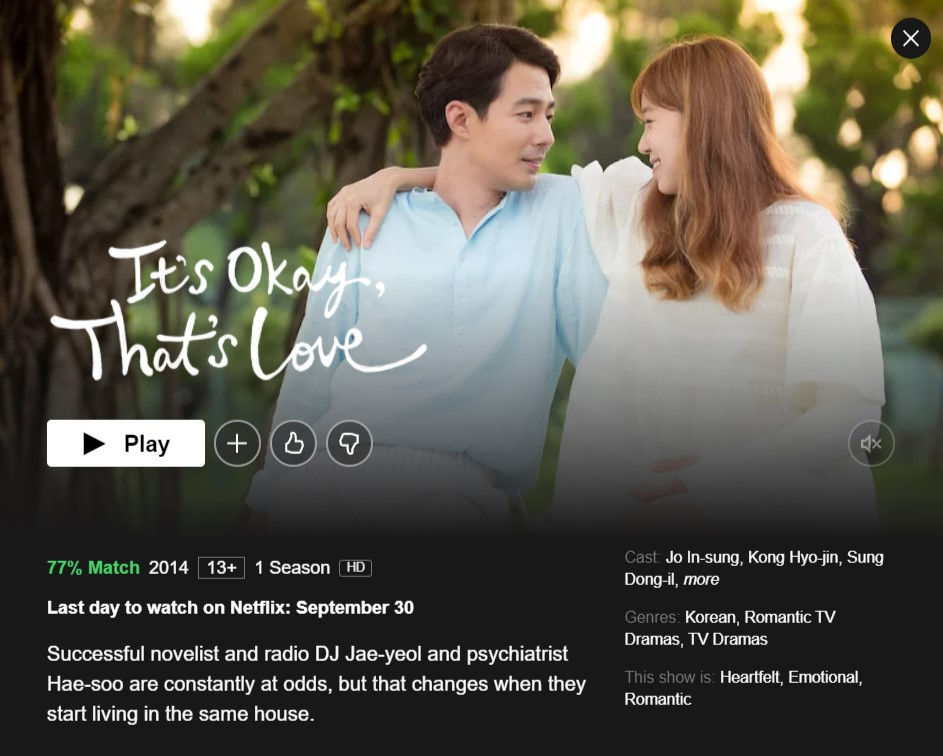It's Okay, That's Love will be removed from Netflix on September 30,2021