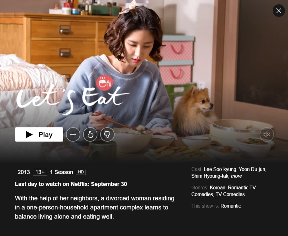 Let's Eat will be removed from Netflix on September 30,2021