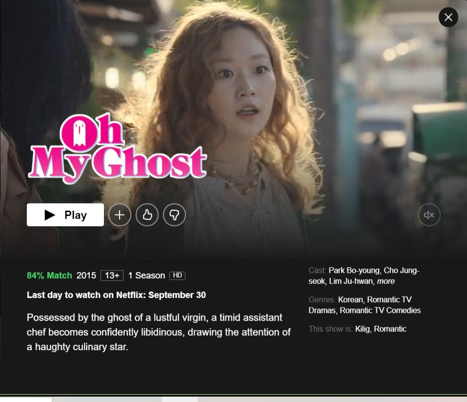 Oh My Ghost will be removed from Netflix on September 30,2021