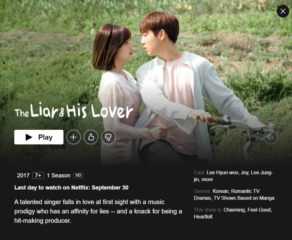The Liar And His Lover will be removed from Netflix on September 30,2021