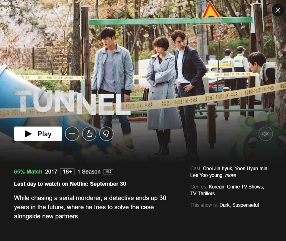 K-dram Tunnel will be removed from Netflix on September 30,2021