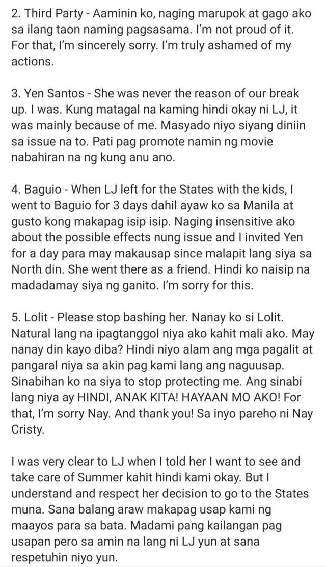 paolo contis' statement on breakup with LJ Reyes