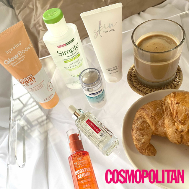 skincare and breakfast in bed on acrylic tray