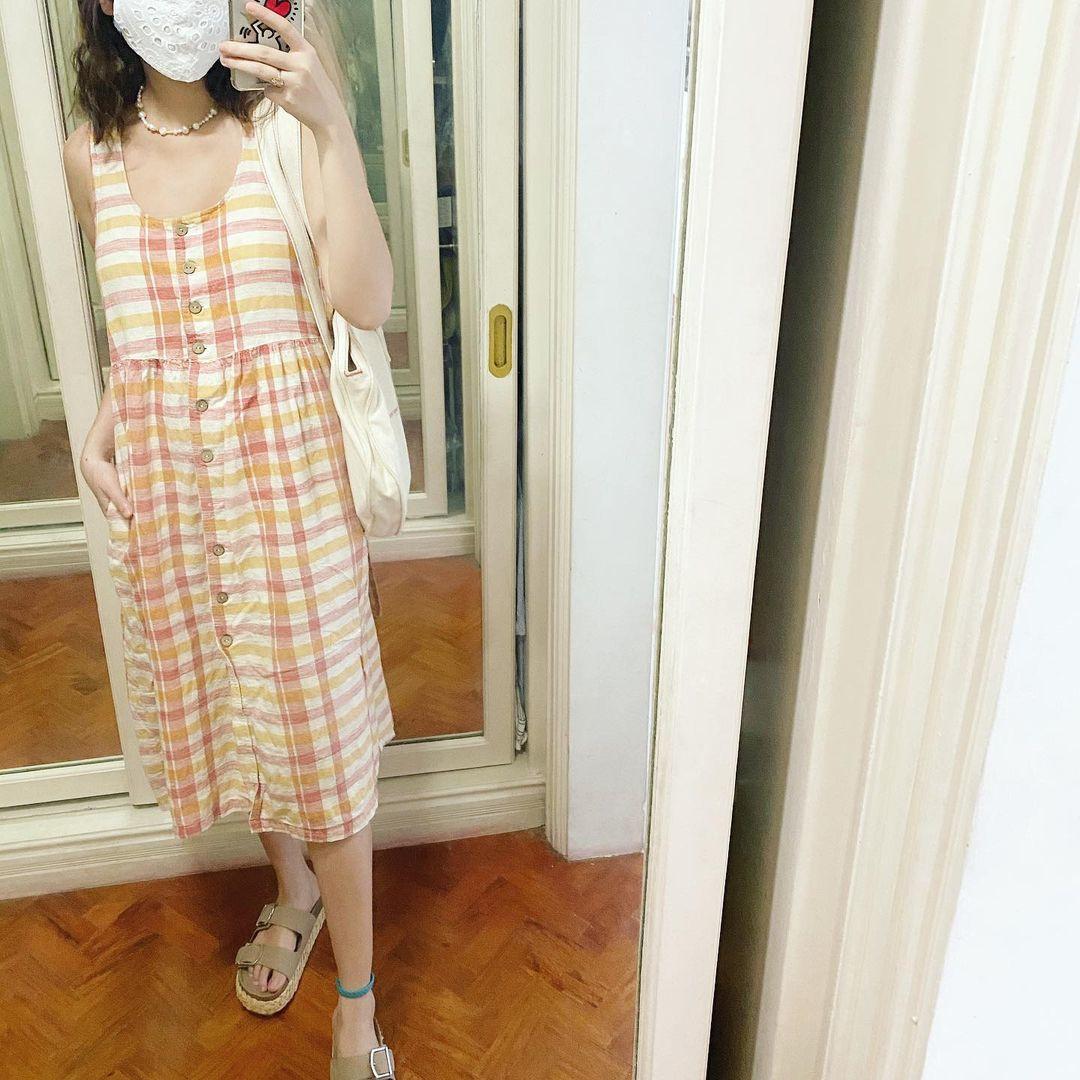 Bela Padilla wearing a printed dress.