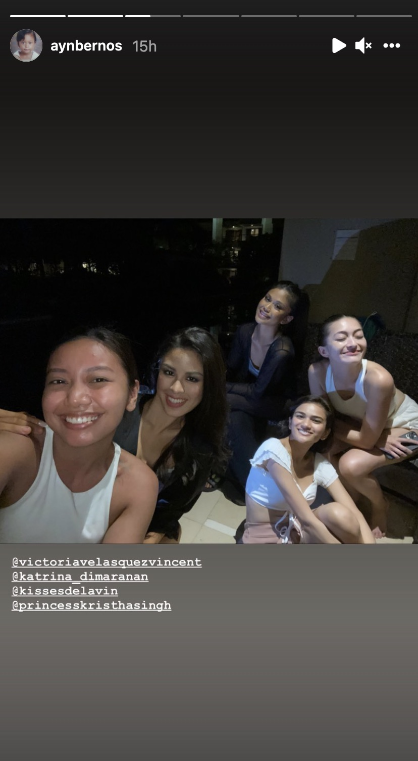 Ayn Bernos with fellow Miss Universe Philippines 2021 contestants Kisses Delavin, Katrina Dimaranan, Princess Kristha Singh, and Victoria Velasquez Vincent