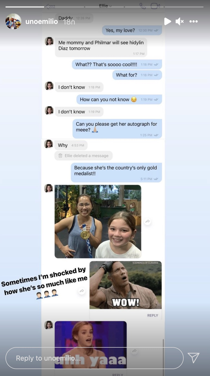 Jake Ejercito's IG Stories of his convo with Ellie Eigenmann about asking for an autograph with Hidilyn Diaz