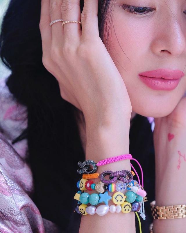 Heart Evangelista wearing beaded bracelets