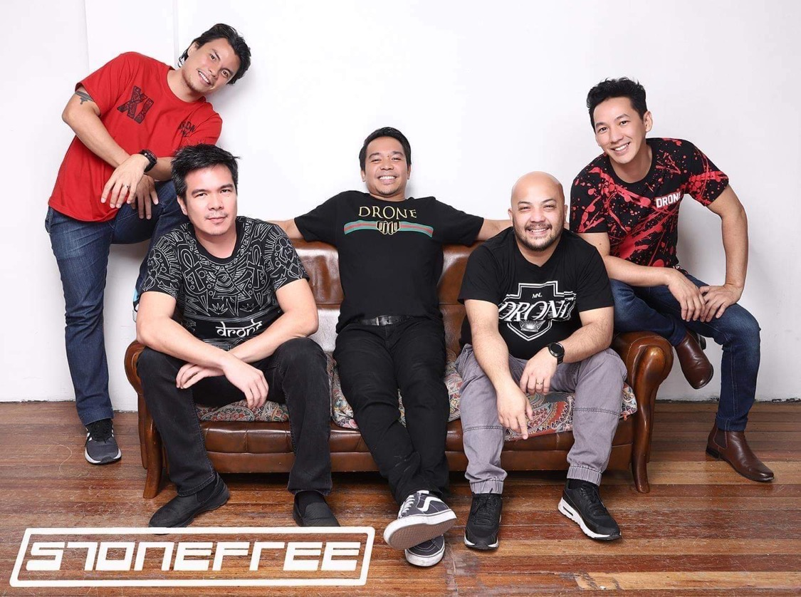 OPM band Stonefree members. From left to right: Benson Tanoja (guitar), Jody Salas (bass), Miro Valera (vocals), Relly Mangubat (drums), Billy Reyes (guitar)