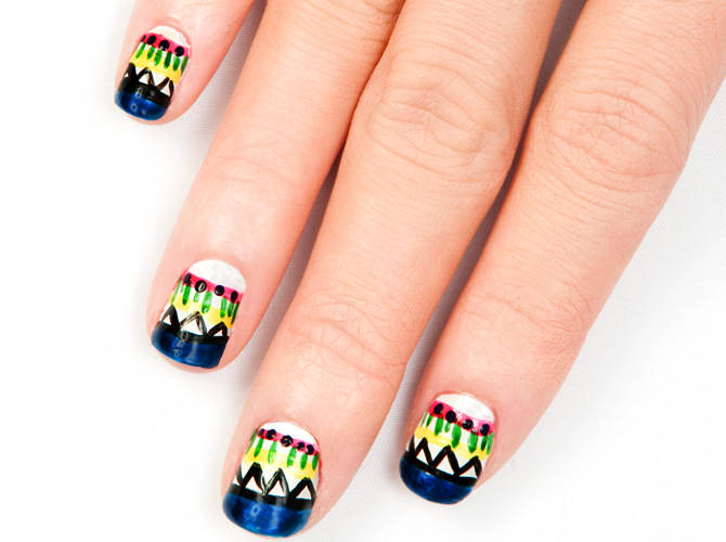 Diy Nail Art Exotic Aztec Cosmo